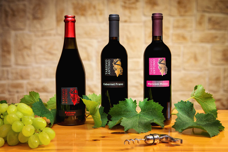 foto still-life ambientate su un tavolo con un grappolo d'uva e tre bottiglie di vino rosso