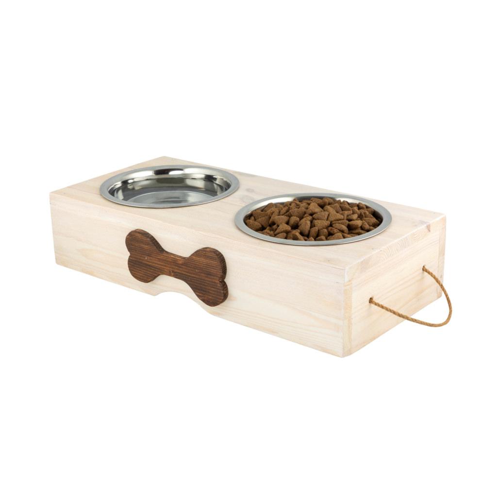 Supporto in legno per cani ad altezza variabile con due ciotole per le crocchette e l'acqua