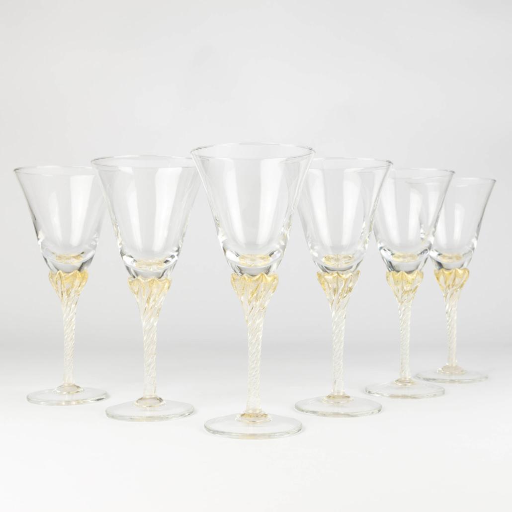 Set di 6 bicchieri in vetro di murano con dettagli in oro giallo