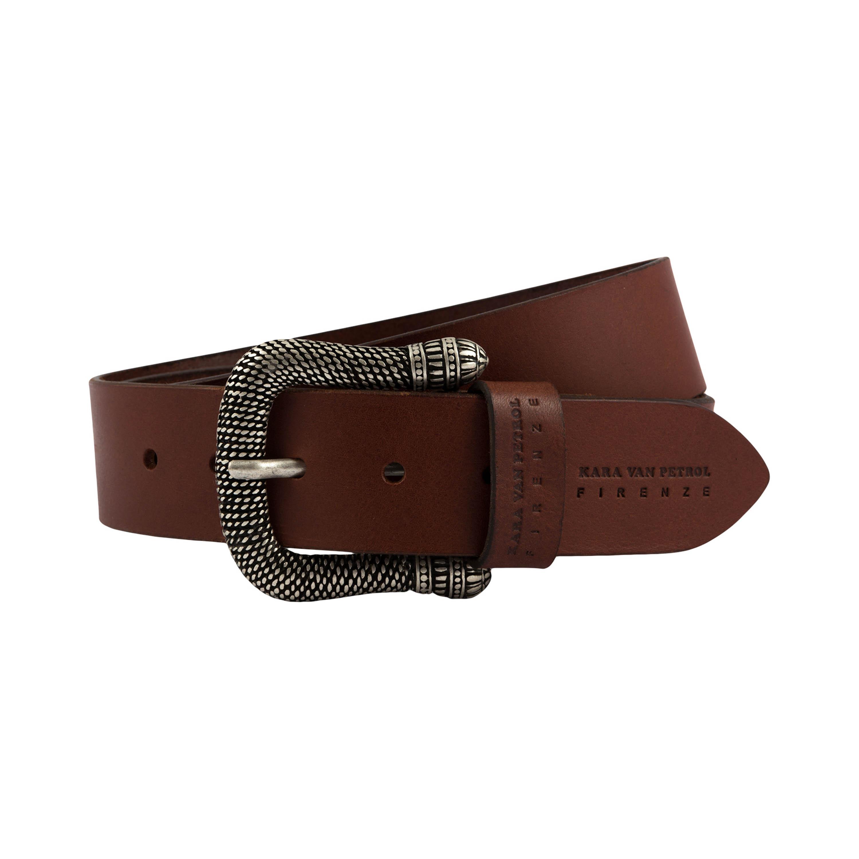 Cintura in pelle marrone realizzata a mano con fibia in acciaio lavorato